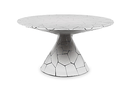 front view of the Crazy Cut Dining Table by Phillips Collection made of composite and stainless steel in a brilliant silver finish