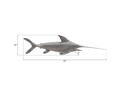 Broadbill Swordfish Fish Wall Sculpture Resin, Polished Aluminum Finish
