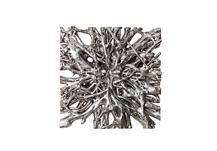 front view of the Phillips Collection Square Root Large Silver Wall Art that was molded to look like a piece of harvested wood in composite