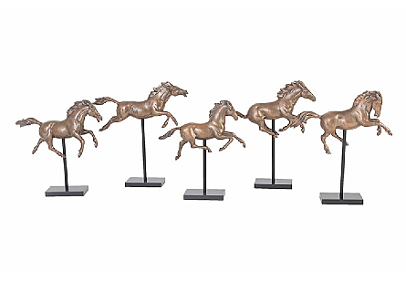 Galloping Horses on Stand Set of 5, Bronze