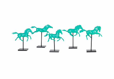 Galloping Horses on Stand Set of 5, Emerald
