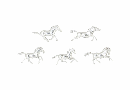 Galloping Horses Wall Art Set of 5, Silver Leaf