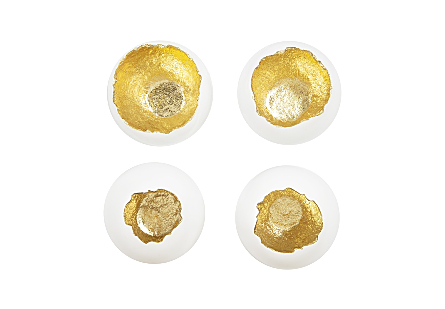 Broken Egg Wall Art White and Gold Leaf, Set of 4