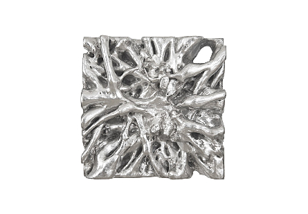 angled view of the Phillips Collection Square Root Small Silver Wall Art that was molded to look like a piece of harvested wood in composite