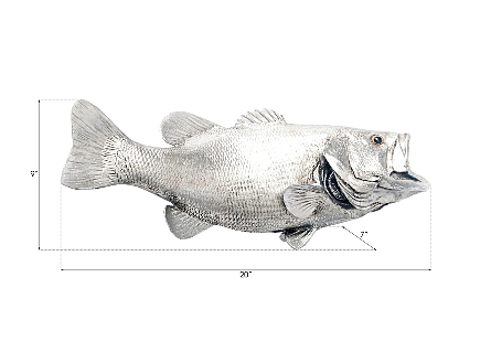 Large Mouth Bass Fish Wall Sculpture Resin, Silver Leaf