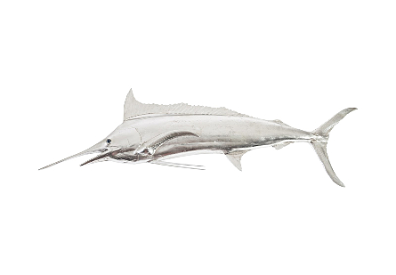front view of Blue Marlin Silver Wall Sculpture by Phillips Collection a fish sculpture made of composite in a silver leaf finish