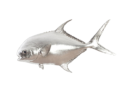Permit Fish Wall Sculpture Resin, Silver Leaf
