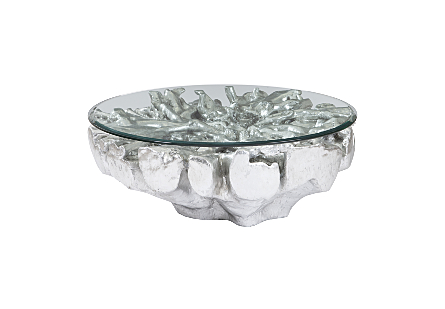 Round Root Coffee Table Silver Leaf, With Glass