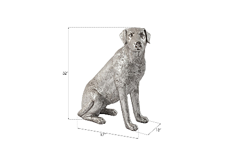 Labrador Dog, Sitting Silver Leaf