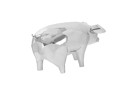 Crazy Cut Babe Pig Side Table Stainless Steel, Silver