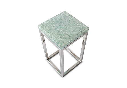 Crackled Glass Side Table Stainless Steel Base