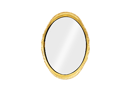 front view of the Broken Egg Gold Mirror by Phillips Collection a decorative mirror with a frame in a luminous gold leaf finish