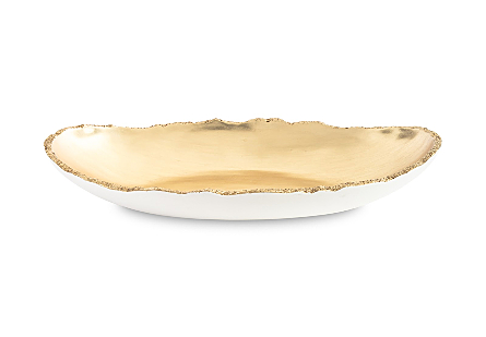 front view of the Broken Egg Oblong Gold Bowl by Phillips Collection a decorative bowl with a luminous gold leaf interior and pearl white exterior