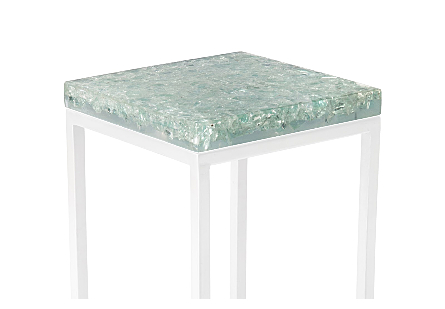 Crackled Glass Top Clear Green, Top Only