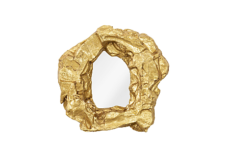 front view of the Phillips Collection Rock Pond Narrow Gold Mirror a decorative mirror with a frame that looks like molten metal froze in a swirl