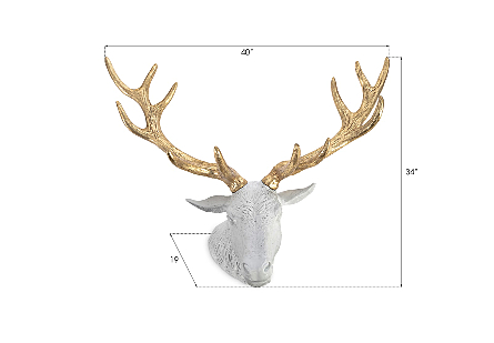 Stag Deer Head White, Gold Leaf