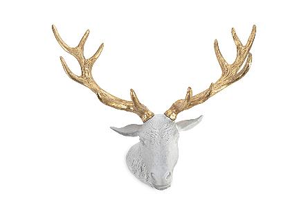 Stag Deer Head White, Gold Leaf