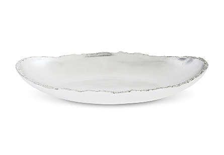 Broken Egg Bowl, White and Silver Leaf Extra Large
