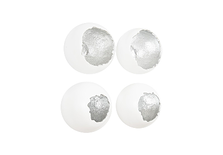 Broken Egg Wall Art White and Silver Leaf, Set of 4