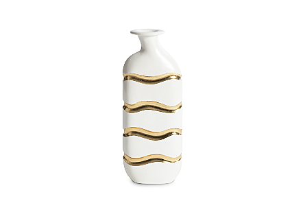 Layered Vase Gel Coat White, Gold Leaf Stripes