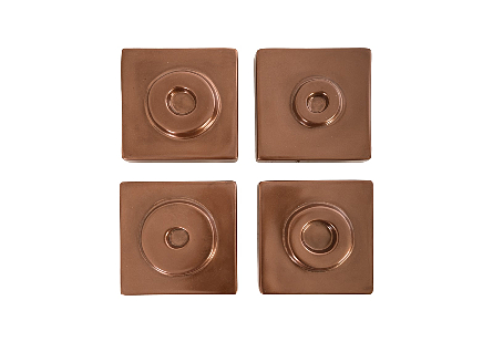 Cuadritos Wall Tiles Set of 4, Polished Copper