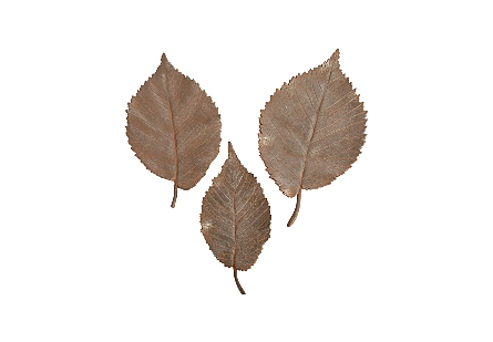 Elm Leaf Wall Tiles Set of 3, Rust