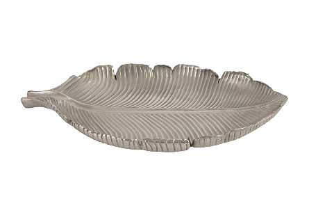 Banana Leaf Bowl Polished Aluminum, SM