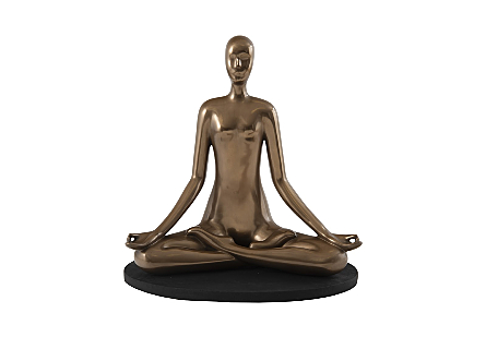 Yoga Figure Meditating, Polished Bronze, No Lines