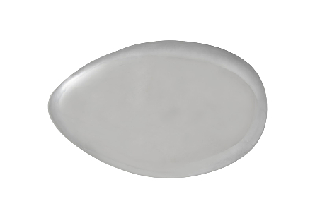 River Stone Coffee Table Small, Liquid Silver