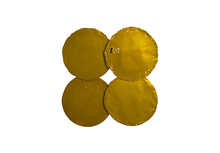 Cast Oil Drum Wall Discs Liquid Gold, Set of 4