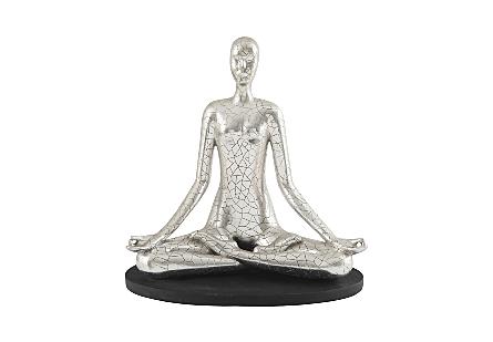 Yoga Figure Meditating, Silver Leaf, With Lines