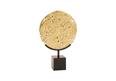 Molton Disc on Stand Gold Leaf, on stand