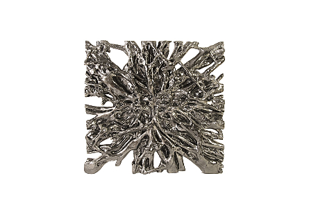 Square Root Wall Art Liquid Silver