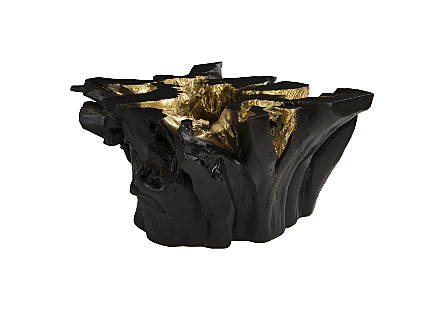 Agnes Root Coffee Table Black, Gold Leaf