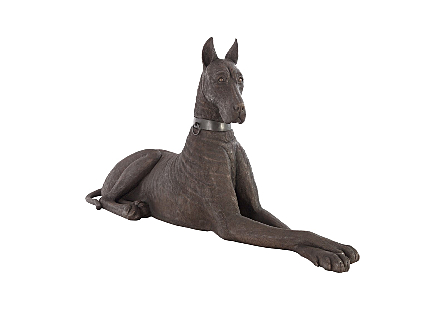 angled view of the Phillips Collection Bronze Left Great Dane Sculpture a large dog sculpture made of composite in a bronze finish to look like metal