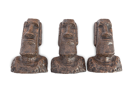 Easter Island Head Wall Sculpture Set of 3