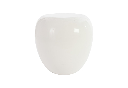 front view of the Phillips Collection River Stone White Side Table a rock-shaped side table made of composite in a crisp white finish