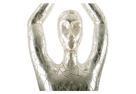 Yoga Figure, Male Silver Leaf, With Lines