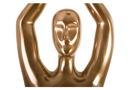 Yoga Figure Male, Polished Bronze, No Lines