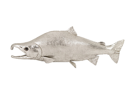 Sockeye Salmon Fish Wall Sculpture Resin, Silver Leaf