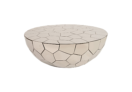 front view of the Crazy Cut Round Coffee Table by Phillips Collection made of composite and stainless steel in a brilliant silver finish