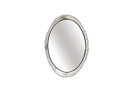 front view of the Broken Egg Silver Mirror by Phillips Collection a decorative mirror with a frame in a luminous silver leaf finish