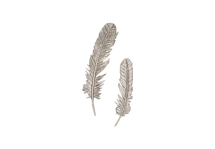 Feathers Wall Art Small, Silver Leaf, Set of 2