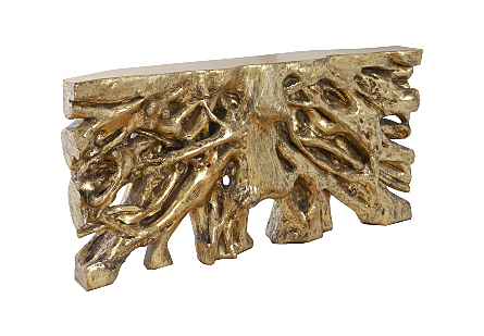 Square Root Console Table Antique Gold
