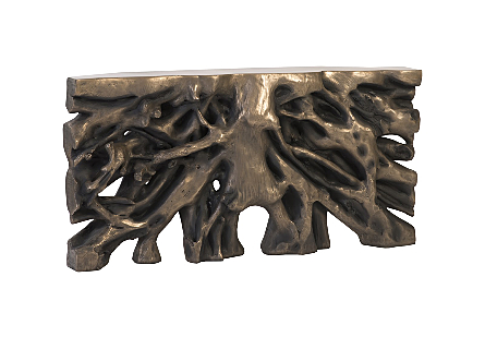 Square Root Console Table Resin, Antique Bronze Finish