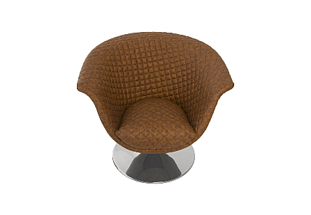 Autumn Chair, Quilted Cognac Trumpet Swivel Base, Polished Stainless Steel