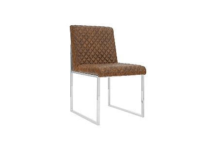 Lancaster Dining Chair Quilted Cognac, Stainless Steel Frame