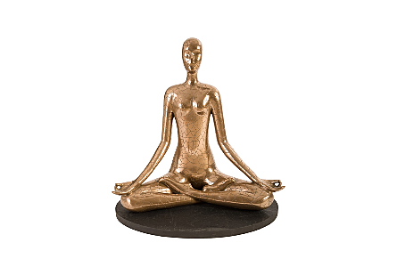 Yoga Figure Meditating, Polished Bronze, With Lines