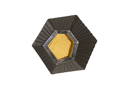 front view of the Hex Medium Wall Tile by Phillips Collection an exploded hexagon with a glossy black finish surrounding a brass decorative mirror
