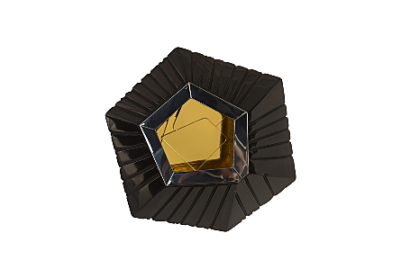 front view of the Hex Small Wall Tile by Phillips Collection an exploded hexagon with a glossy black finish surrounding a brass decorative mirror